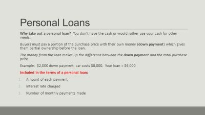 Personal Loans and Purchasing Decisions - ppt video online ...
