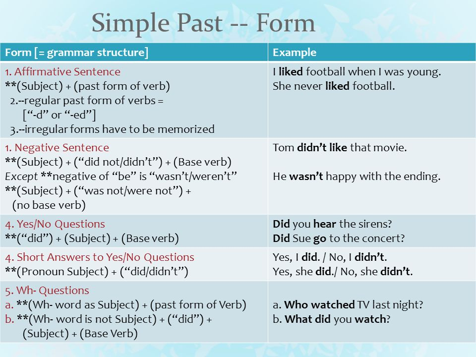 Past Simple Regular Verbs Sentence Structure