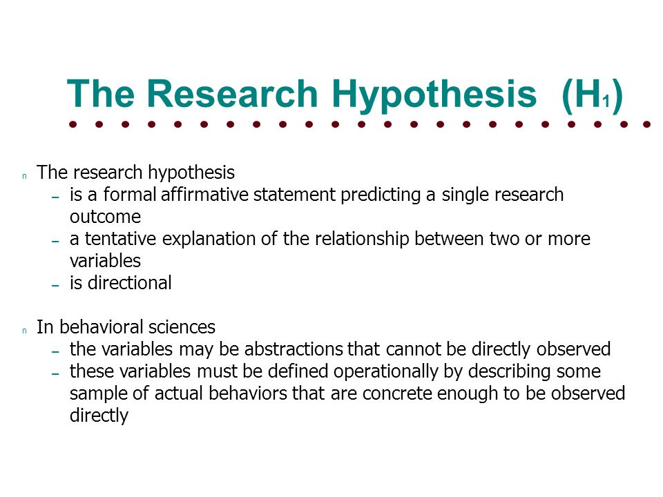 formal hypothesis format
