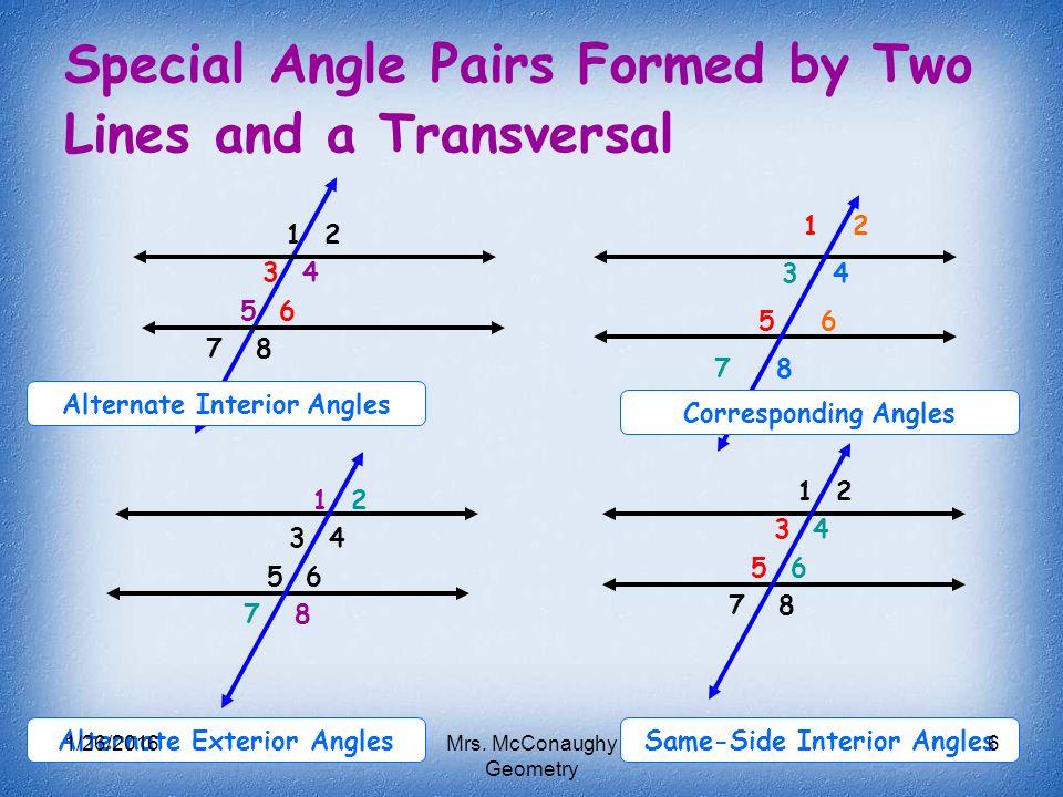 Name Pair Alternate Interior Angles