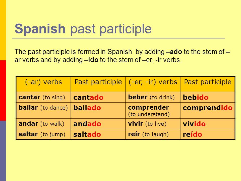 Irregular Verbs Past Participle Spanish