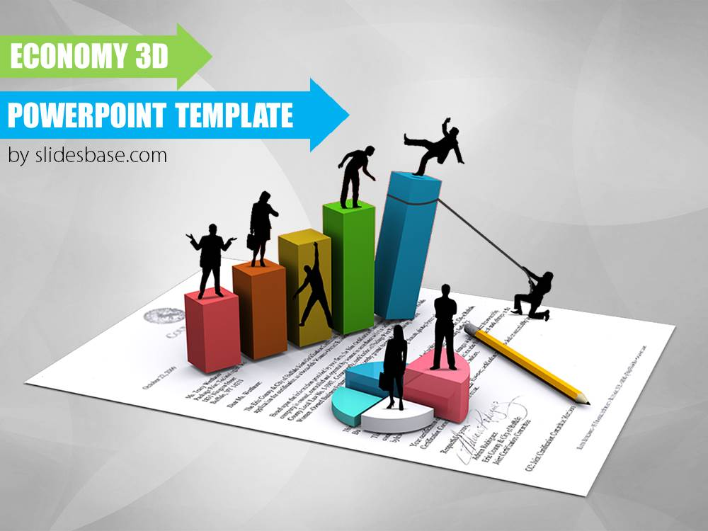 Economy 3D PowerPoint Template   Slidesbase economy 3d business bar creative silhouettes powerpoint template