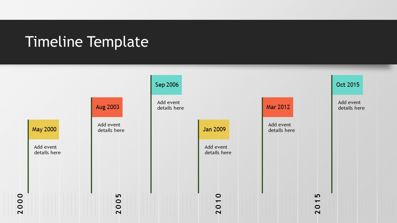 Timeline Template   Slidesbase simple flags timeline template ppt powerpont download