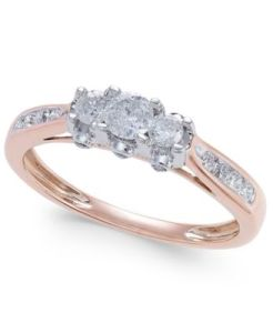 Macy s Diamond Trinity Engagement Ring  1 2 ct  t w   in 14k Rose     main image