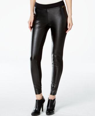 Calvin Klein Faux Leather Front Leggings Pants Women