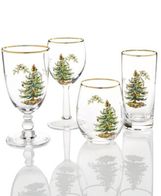 Spode Glassware Set Of 4 Christmas Tree Collection