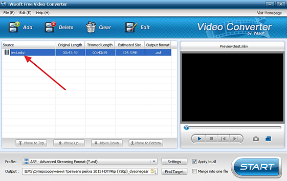 Fișier video în Iwisoft Free Video Converter