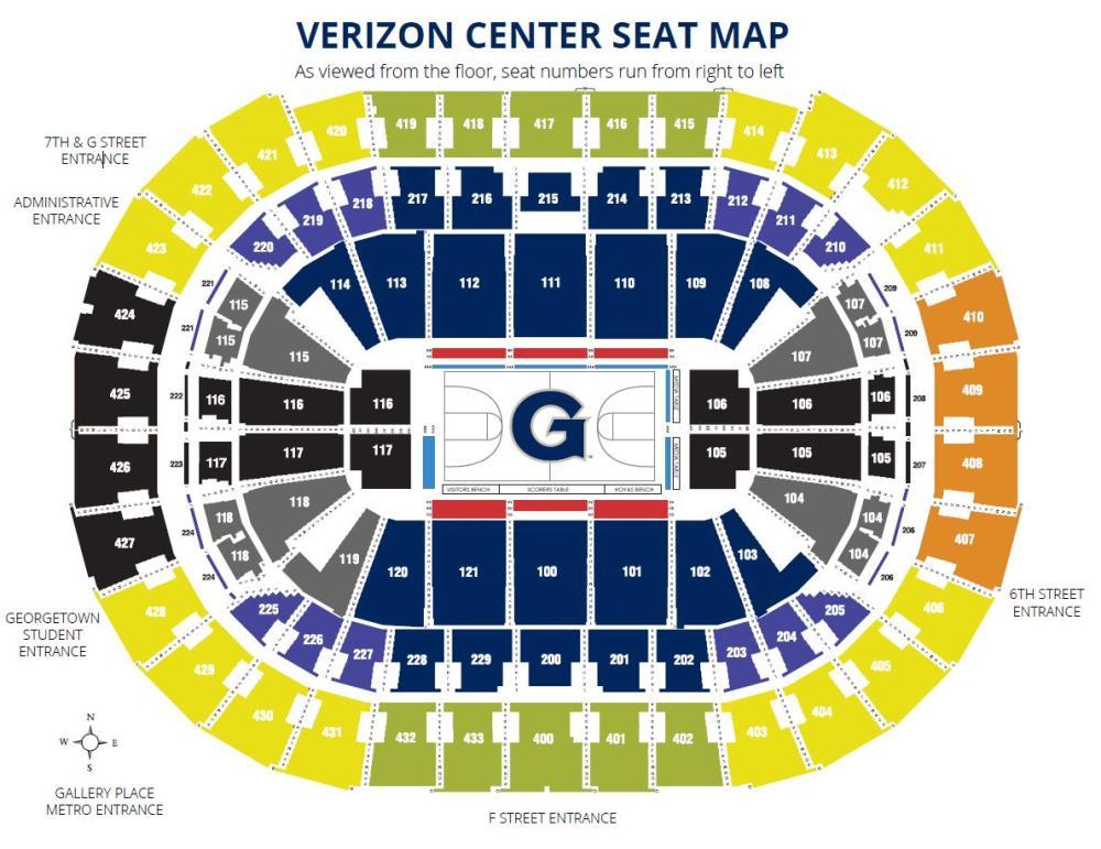 Verizon Center Seating Map Rows