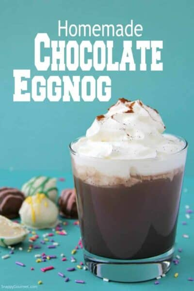 Homemade Chocolate Eggnog (Easter Cocktail) in a glass with whipped cream