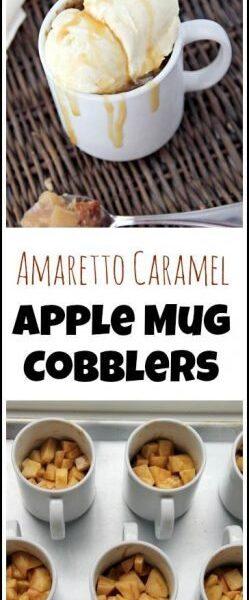Amaretto Caramel Apple Mug Cobblers recipe - easy homemade dessert baked in mugs. SnappyGourmet.com