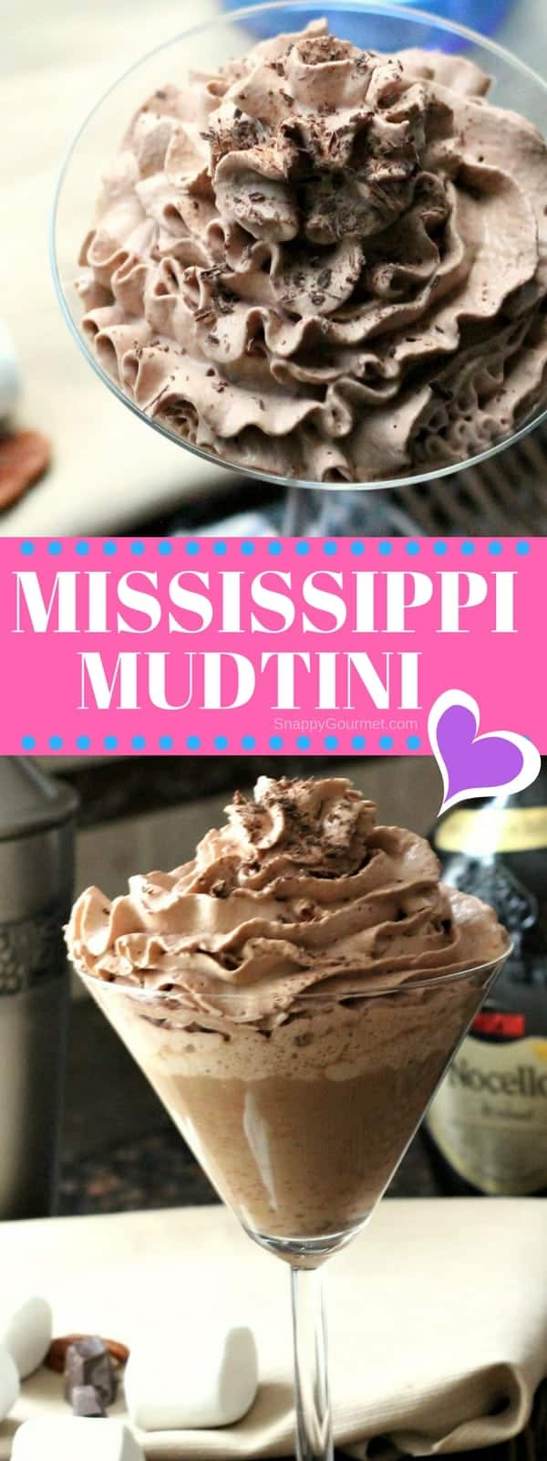 Mississippi Mudtini Cocktail Recipe - an easy chocolate martini recipe with marshmallow vodka, Godiva chocolate liqueur, and Nocello! SnappyGourmet.com