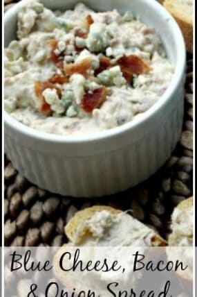 Blue Cheese, Bacon, & Onion Spread - easy spread, dip, and homemade appetizer recipe. SnappyGourmet.com