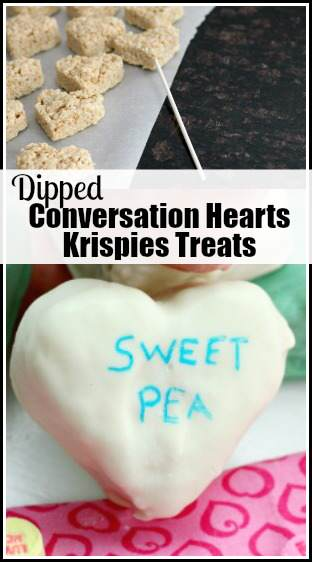 Dipped Conversation Hearts Krispies Treats (Valentine's Day treat) recipe | SnappyGourmet.com