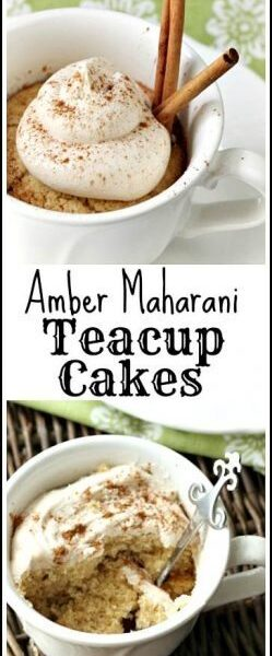 Amber Maharani Teacup Cakes Recipe - easy homemade cupcake recipe made in individual cups. SnappyGourmet.com