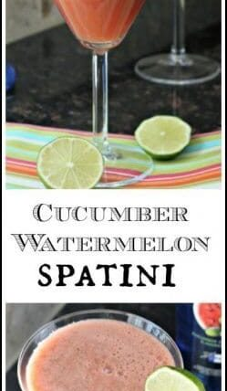 Cucumber Watermelon Spatini Cocktail Recipe - easy summer drink   SnappyGourmet.com