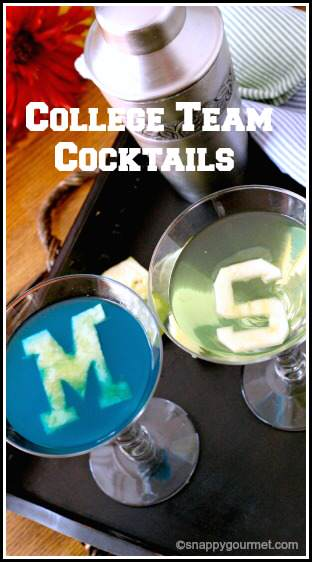 College Cocktails: Recipes for U of M Wolverinetini & MSU Spartantini   SnappyGourmet.com