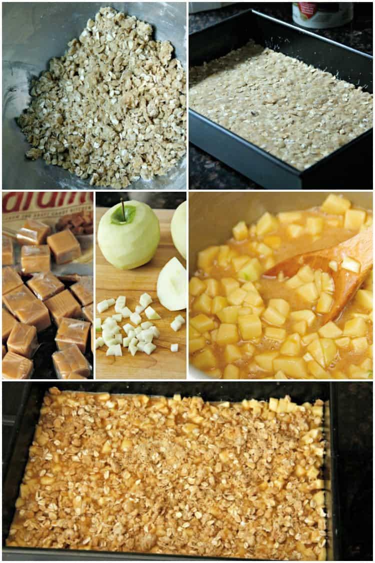 Caramel Apple Bars process shots