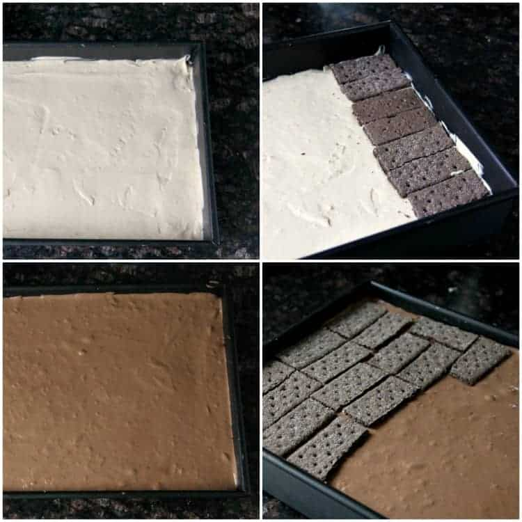 layers of lasagna in pan with chocolate graham crackers, chocolate filling, and peanut butter filling