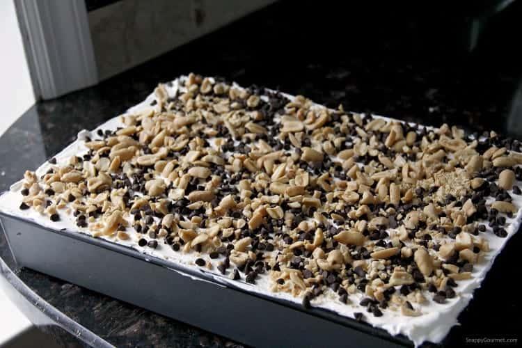 dessert lasagna in baking dish
