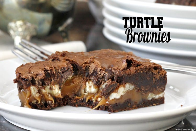 inside of turtle brownies with chocolate, caramel, and nuts