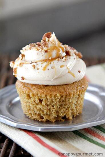 Caramel Apple Butter Cupcakes Recipe | snappygourmet.com