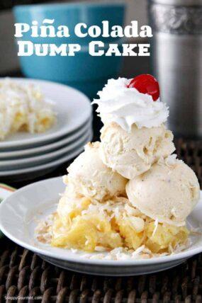 Piña Colada Dump Cake Recipe - Easy pineapple coconut cake recipe. SnappyGourmet.com