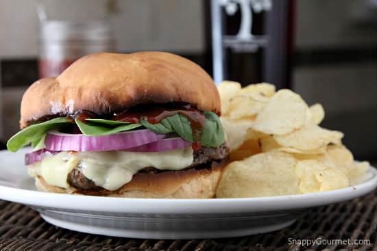Pomegranate Chipotle Burger Recipe - easy sweet and spicy burger recipe! SnappyGourmet.com