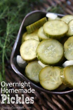 Overnight Homemade Pickles Recipe | SnappyGourmet.com