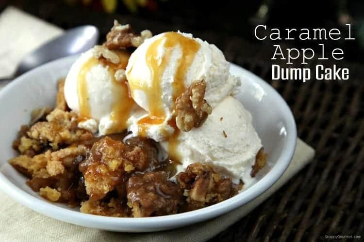 Caramel Apple Dump Cake with vanilla ice cream and caramel