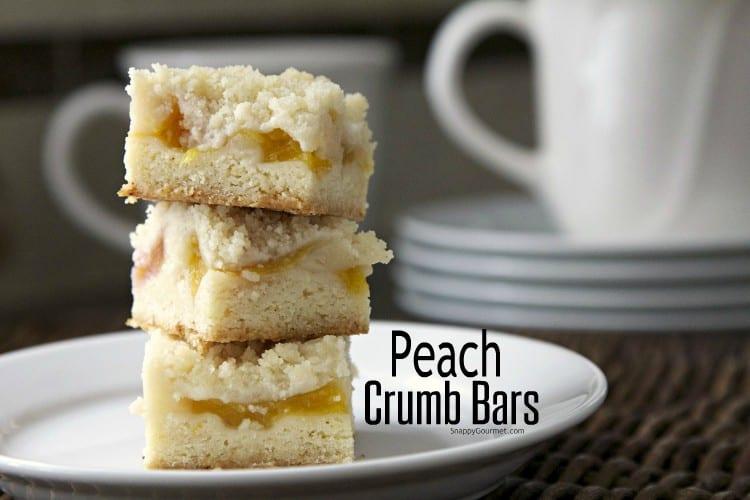 Peach Crumb Bars on plate
