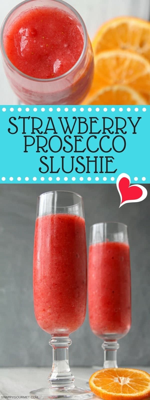 Strawberry Prosecco Slushie Cocktail Recipe - Homemade wine slushie in a blender with prosecco and frozen strawberries. SnappyGourmet.com