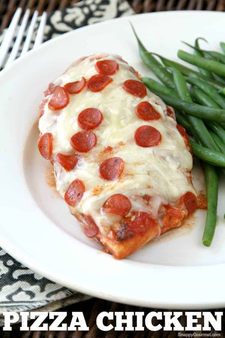 Pizza Chicken with green beans on plate