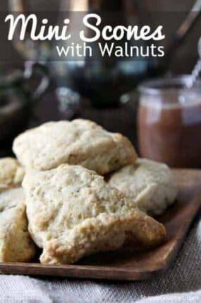 Mini Scones with Walnuts Recipe - easy homemade breaskfast or brunch recipe   SnappyGourmet.com