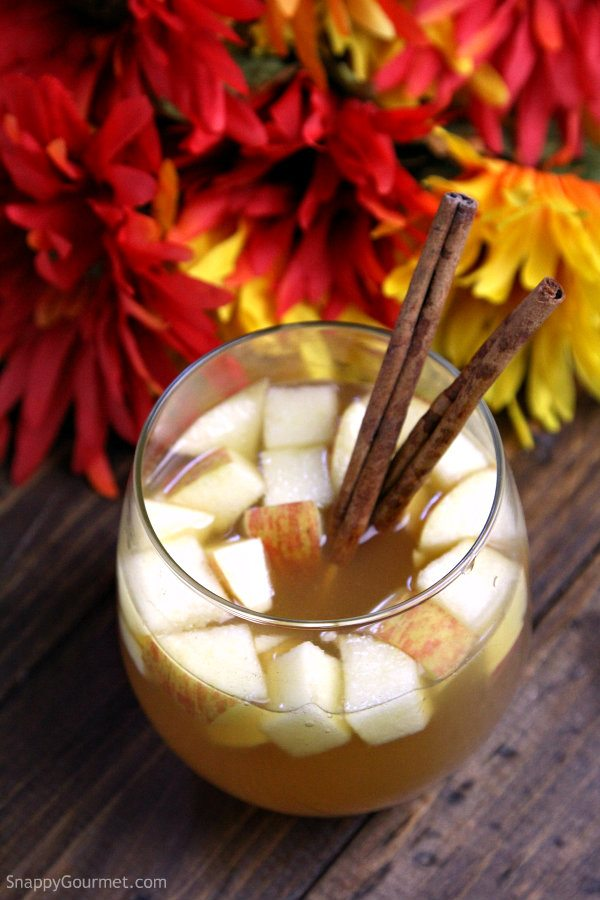 Cider Sangria - easy cocktail recipe perfect for fall with apple cider, apple wine, sparkling water, and a few other ingredients.