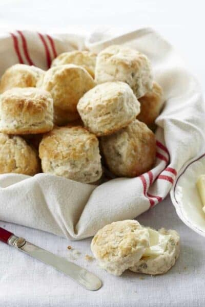 Fluffly Buttermilk Chive Biscuits - homemade biscuit recipe from my cookbook Kid Chef Bakes | SnappyGourmet.com