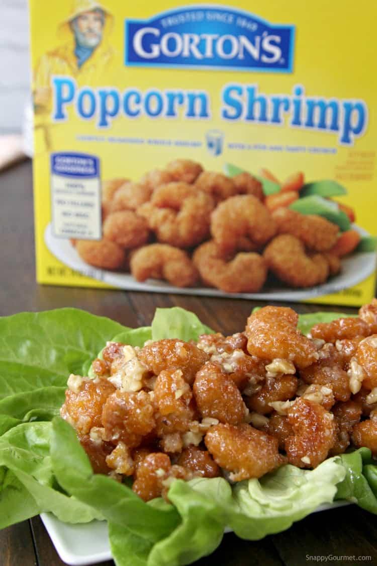 Easy Honey Walnut Popcorn Shrimp Recipe with crispy popcorn shrimp - SnappyGourmet.com