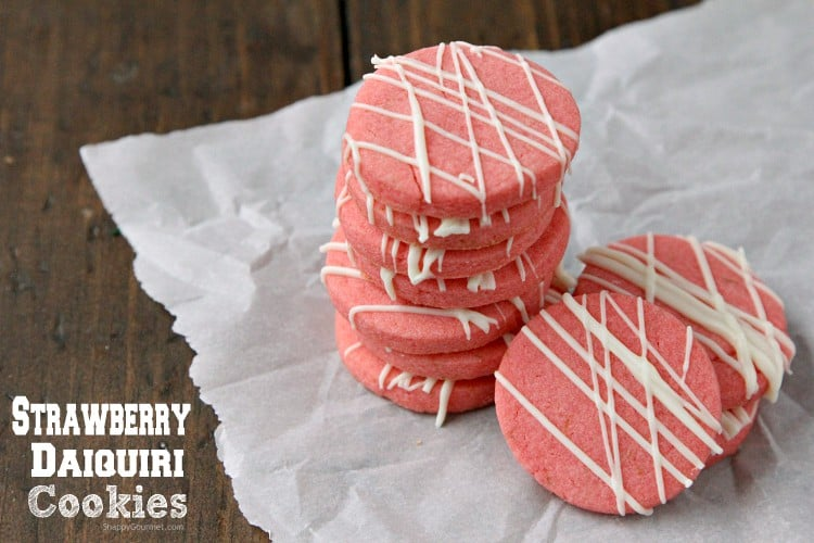 Strawberry Daiquiri Cookies - easy strawberry jello cookie recipe and fun holiday cookie idea! SnappyGourmet.com