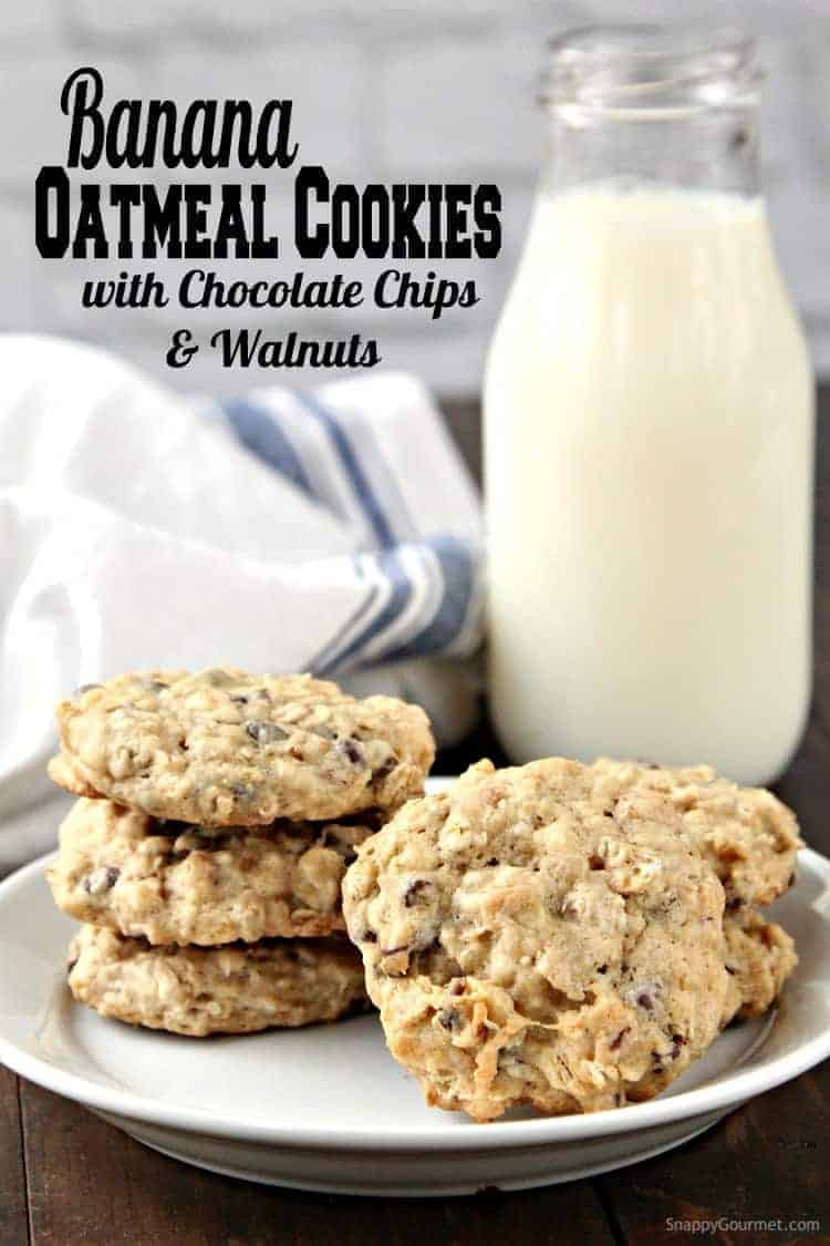 Banana Oatmeal Cookies with chocolate chips and walnuts on plate with glass jar of milk