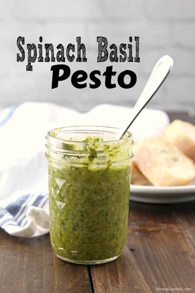 Spinach Basil Pesto Recipe - how to make homemade pesto in your blender or vitatmix.