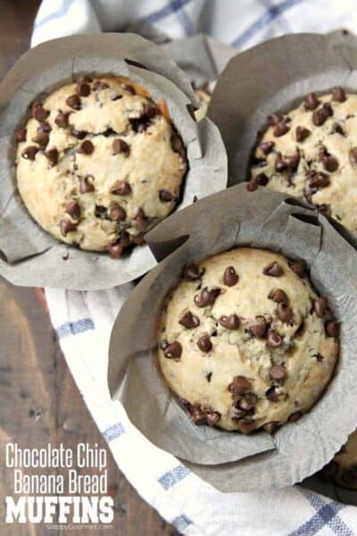 Chocolate Chip Banana Bread Muffins recipe - easy homemade banana muffins loaded with chocolate chips