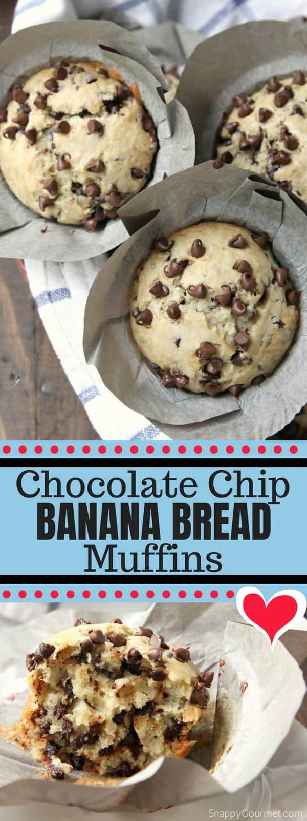Chocolate Chip Banana Bread Muffins recipe - homemade banana muffins with chocolate chips