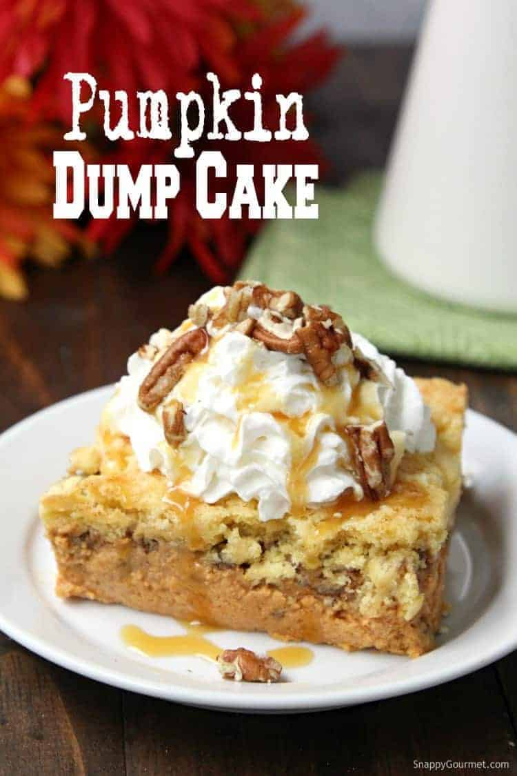 pumpkin dump cake with whipped cream and caramel on plate