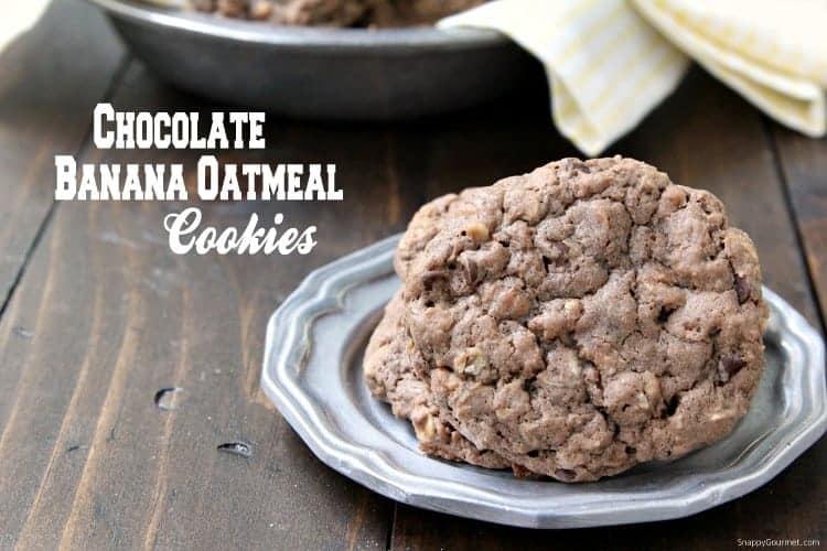 Chocolate Banana Oatmeal Cookies - easy banana oatmeal cookie recipe