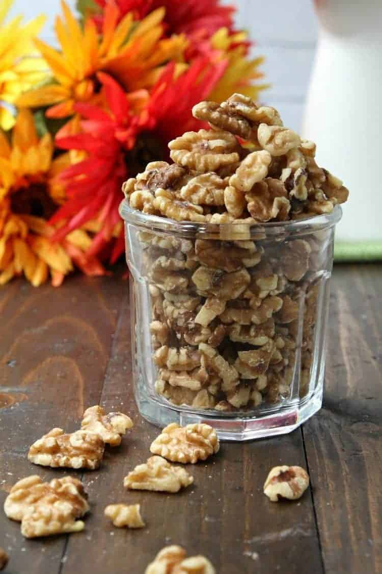 Mini Walnut Apple Pies - walnuts in glass