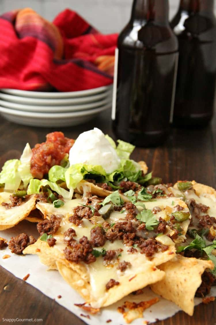 Loaded Nachos with beef, peppers, onion