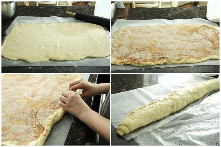 Cannoli Cinnamon Rolls dough rolling