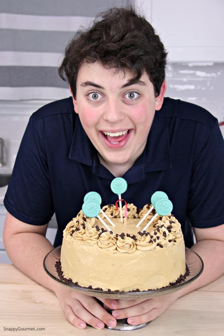 Boy with money cake