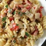 Cajun Chicken Alfredo pasta on plate