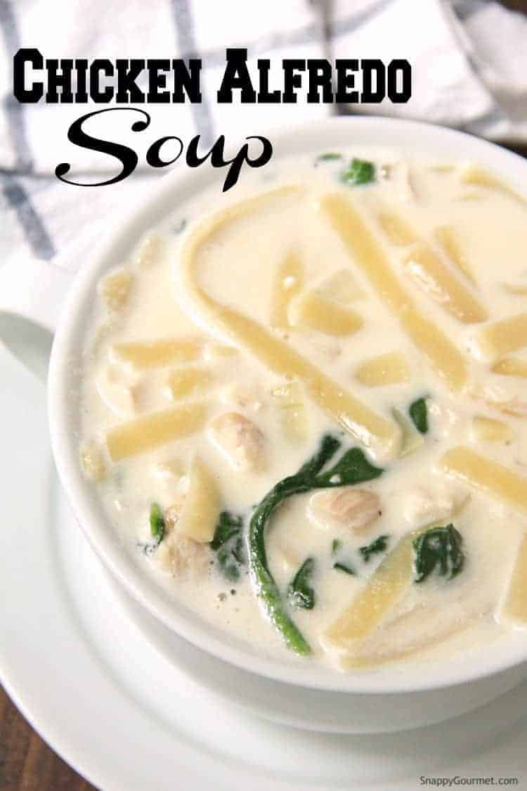 Chicken Alfredo Soup with fettuccine and spinach in bowl