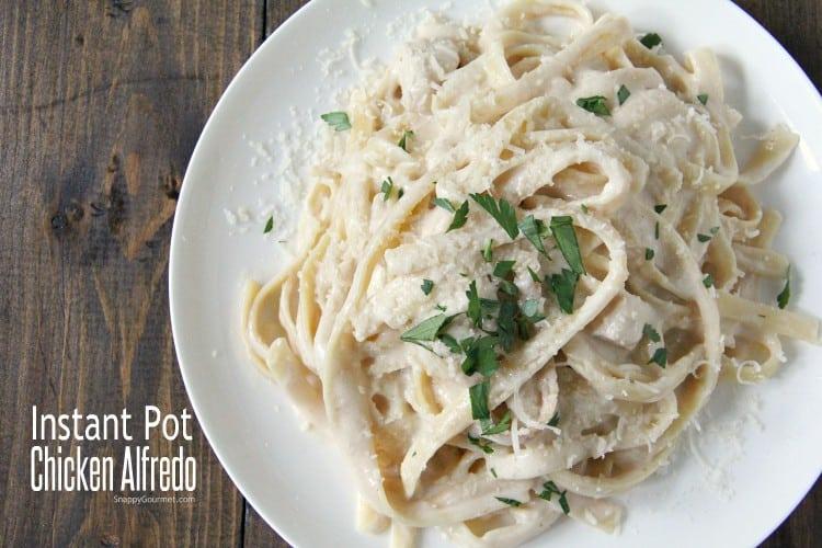 Instant Pot Chicken Alfredo on white plate